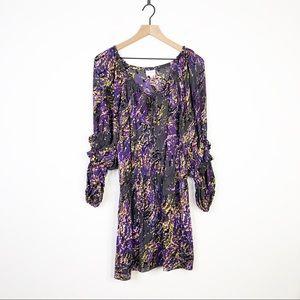 Parker Silk Floral Ruffle Long Sleeve Dress Small